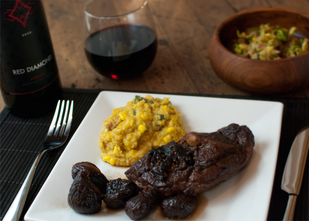 Braised lamb with red wine and figs |